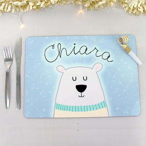 Polar Bear Christmas Placemat Personalised - tableware