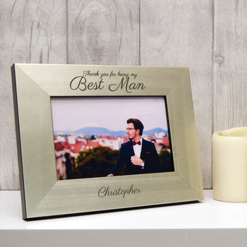 Best Man Photo Frame in Champagne Silver