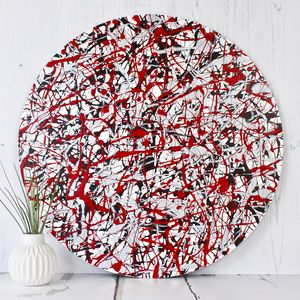 Moving Lines Bespoke Circular Abstract Painting - prints & art sale