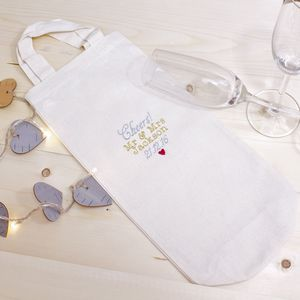 Embroidered Personalised Wedding/Anniversary Bottle Bag - wedding favours