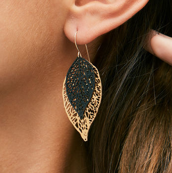 monochrome leaf earrings gold and black