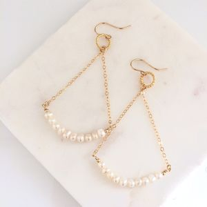 Gold Balance Earrings With Freshwater Pearls - earrings