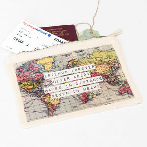 World Map Friendship Make Up Bag