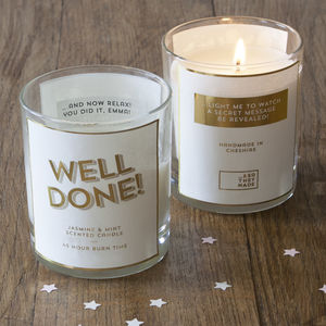 Personalised Secret Message Well Done Scented Candle - exam congratulations gifts