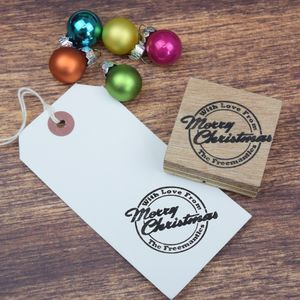 Personalised Merry Christmas Family Message Stamp - cards & wrap