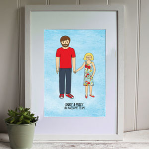 Daddy And Daughter Digital Portrait Print - children's room