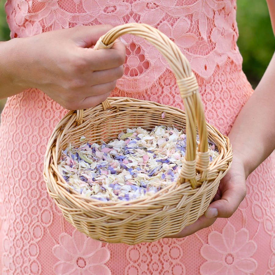 Natural Wicker Flower Girl Baskets : Flower girl basket of natural petal confetti by shropshire