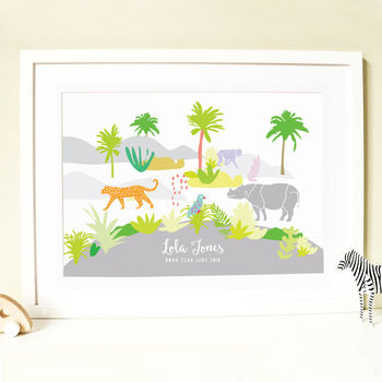 Personalised Jungle Baby Birth Print