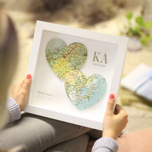 In Love Since Two Map Hearts Personalised Print - travel-inspired wedding gifts