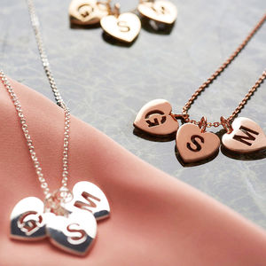 Pierced Heart Triple Initial Necklace - gifts for teenagers