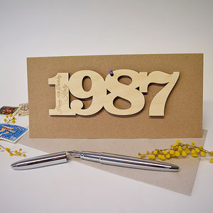 Personalised 30th Birthday 1987 Motif Card