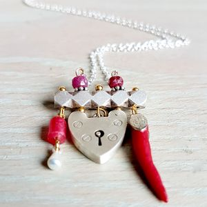 Silver And Ruby Bohemian Charm Necklaces - necklaces & pendants