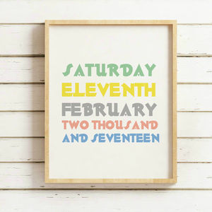 Colourful Personalised Date Of Birth Print - pictures & prints for children