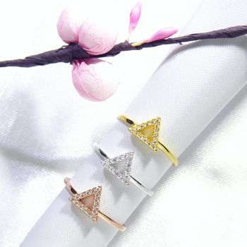 Triangle Band Ring Cz 925 Silver Yellow Rose Gold