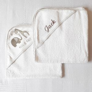 Personalised Baby Hooded Towel Set Of Two - bathtime