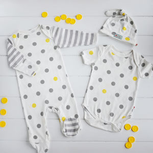 Grey And Yellow Spotty Baby Shower Gift Set