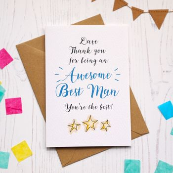 Personalised Awesome Best Man Thank You Card
