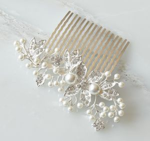 Crystal Leaf And Pearl Hair Comb