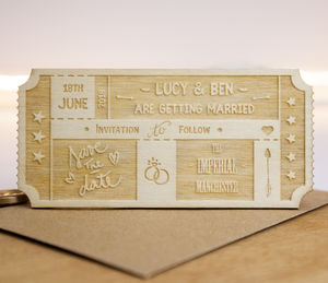 Personalised Wooden Ticket Save The Date - wedding stationery
