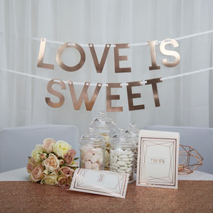 Blush Rose Gold Love Is Sweet Wedding Bunting - outdoor decorations