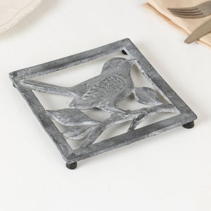 Perching Bird Grey Metal Trivet