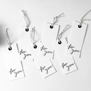 'For You' Set Of Six Letterpress Gift Tags