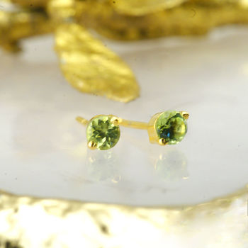 August Birthday Peridot Earrings