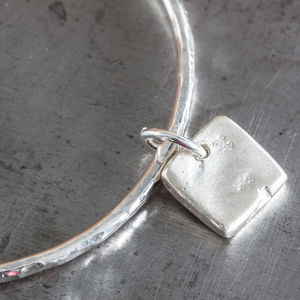 Personalised Small Square Charm Hammered Bangle