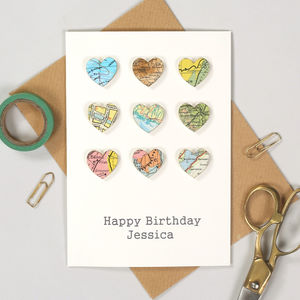 Personalised World Map Traveller Birthday Hearts Card - birthday cards