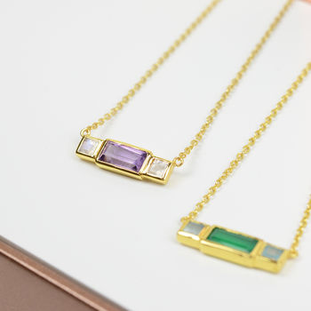 Emerald Cut Gemstone Necklace