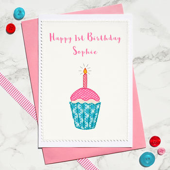 'Cupcake' Personalised Girls 1st Birthday Card