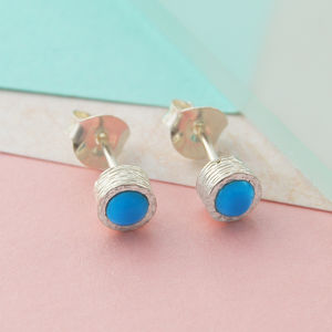 Sterling Silver Studs Round Blue Turquoise Earrings - earrings