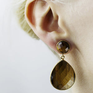 Handcrafted Vermeil Tiger Stone Drop Earrings