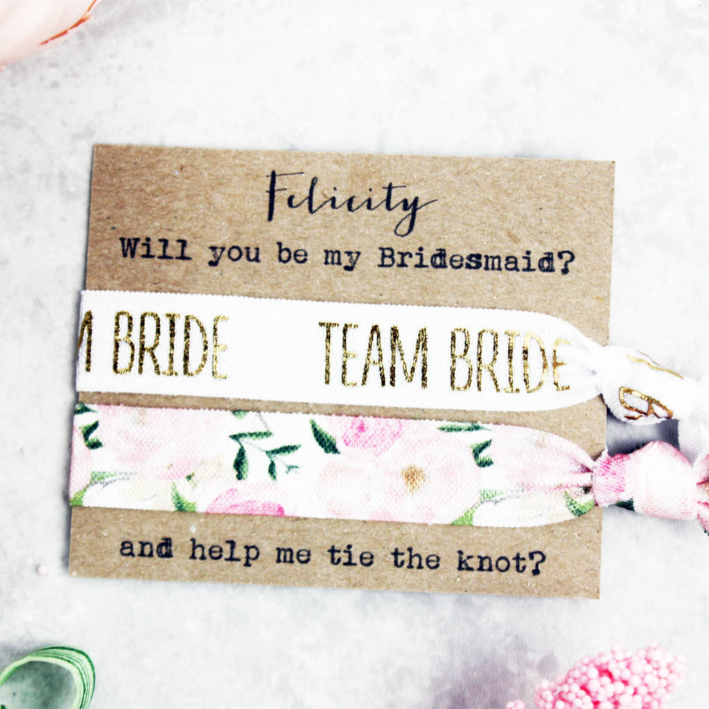 will you be my bridesmaid hair tie set by emilie rose ... 1ab44dce5da