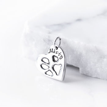 Personalised Pet Paw Print Silver Charm