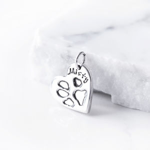 Personalised Pet Paw Print Silver Charm - charm jewellery