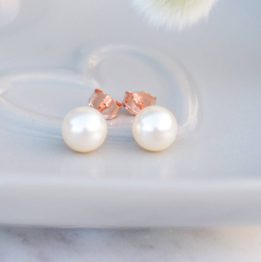 9ct Rose Gold Pearl Stud Earrings