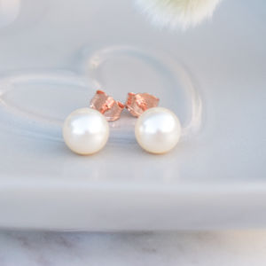 9ct Rose Gold Pearl Stud Earrings - earrings