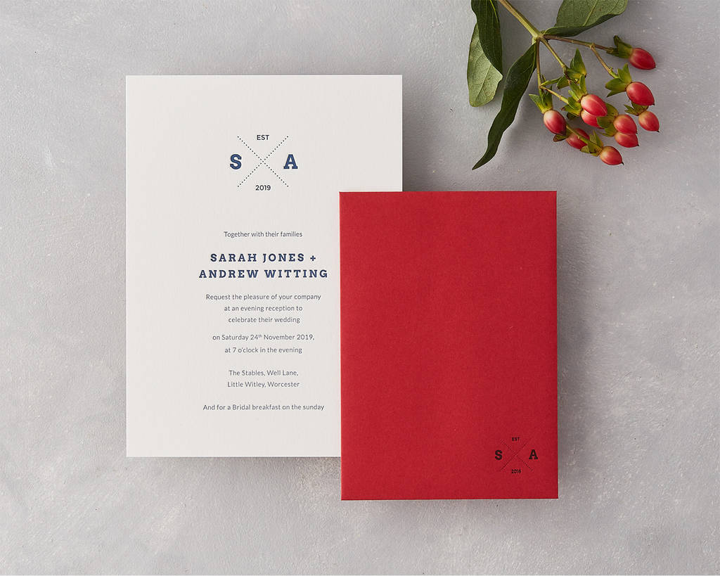 emblem letterpress wedding invitation by wolf & ink ...