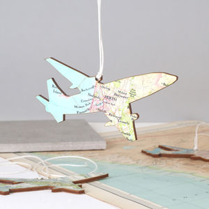 Personalised Map Location Aeroplane Keepsake