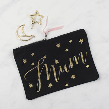 Personalised Name Star Print Glitter Pouch