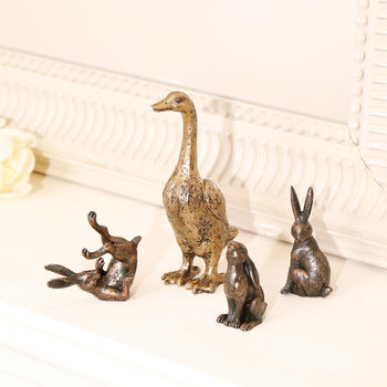 Bronze Effect Country Animals Ornament Collection