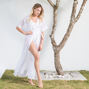 Arizona Long Kimono In Salt - women's fashion