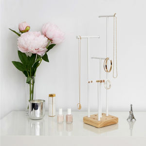 Adjustable White Metal And Wood Jewellery Stand