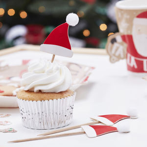 Santa Hat Pom Pom Food Picks - cake decoration