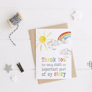 Thank You For Being Part Of My Story Card - thank you cards