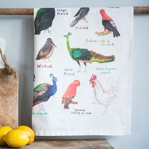 'Cocks' Illustrated Bird Tea Towel - tea towels