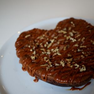 Fathers Day Salted Caramel Brownie Heart Serves Eight