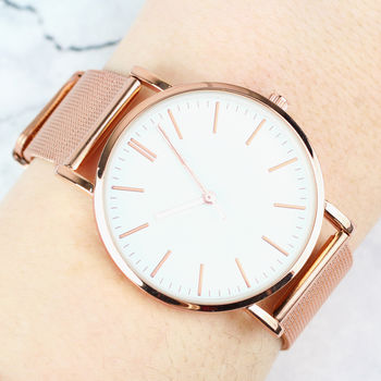 Ladies Personalised Rose Gold Message Watch