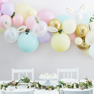 Pastel Balloon Arch Kit With Bunny Balloons And Foliage